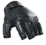 SWAT Tactical Leather Gloves (Half Finger - Black) Small