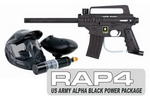 US Army Alpha Black Paintball Marker with Electronic Trigger Bas