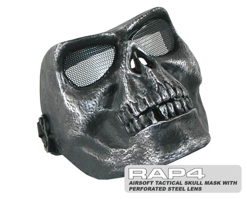 RAP4 Airsoft Tactical Skull Mask with Perforated Steel Lens (Sil